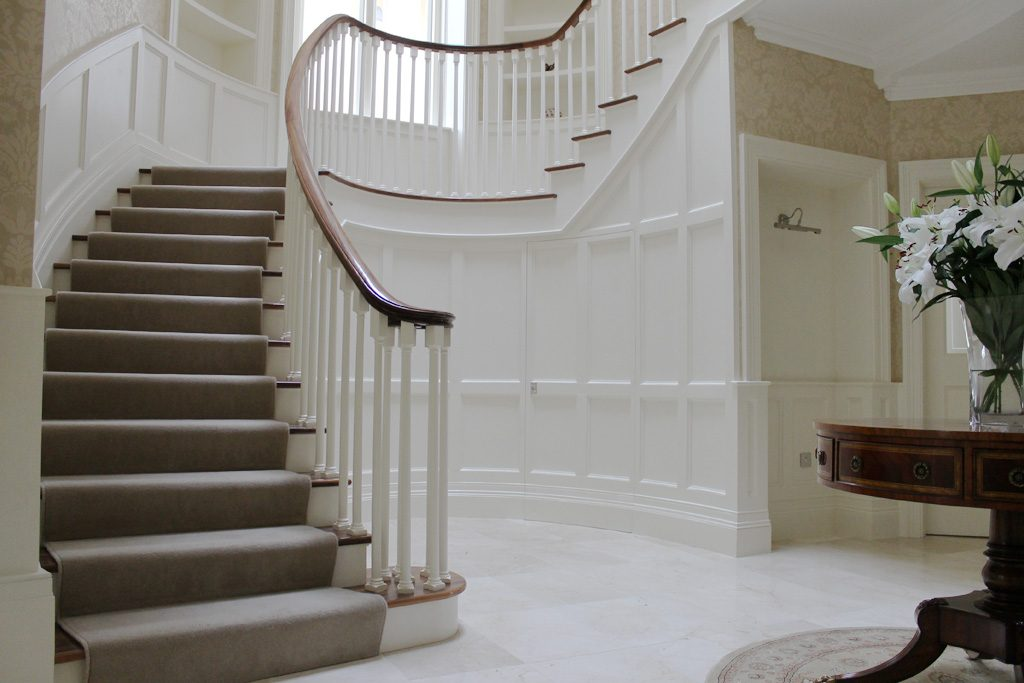 Painted poplar stairs with curved handrail 1