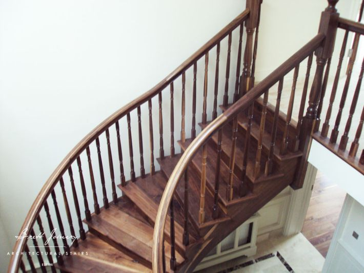 walnut curved stairs Ireland